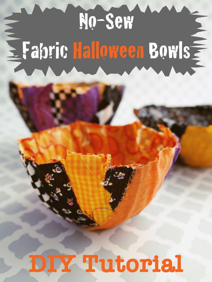 DIY Fabric Scrap Tutorial - No-Sew Fabric Halloween Schalen